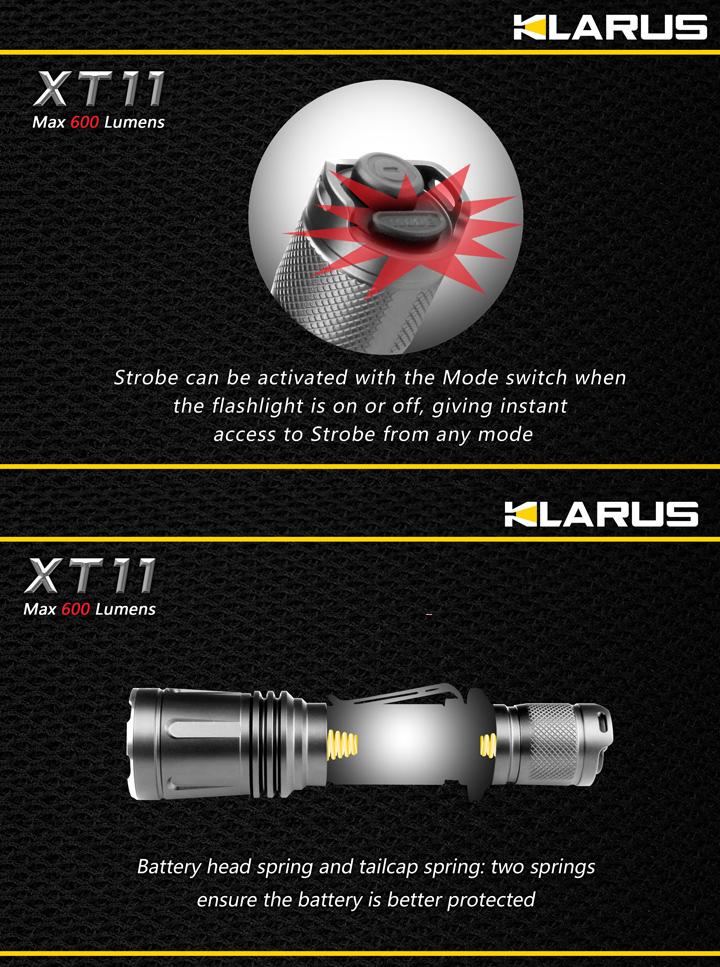 lampe torche klarus xt11 600lumens lampe tactique police ultra puissante. Black Bedroom Furniture Sets. Home Design Ideas