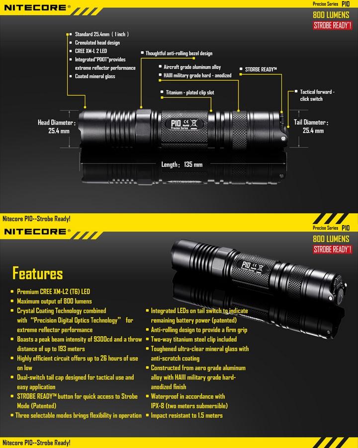 lampe torche nitecore p10 800lumens acc s direct au. Black Bedroom Furniture Sets. Home Design Ideas