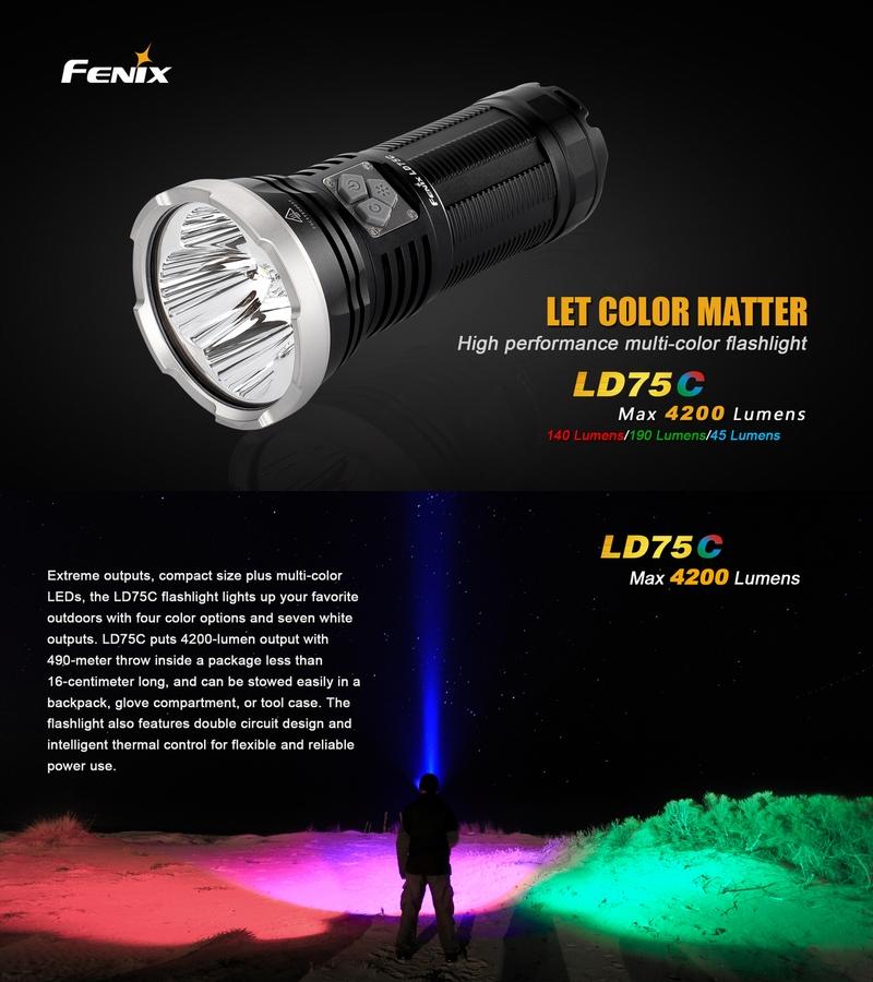 lampe torche fenix ld75c 4000lumens multi couleur phare. Black Bedroom Furniture Sets. Home Design Ideas