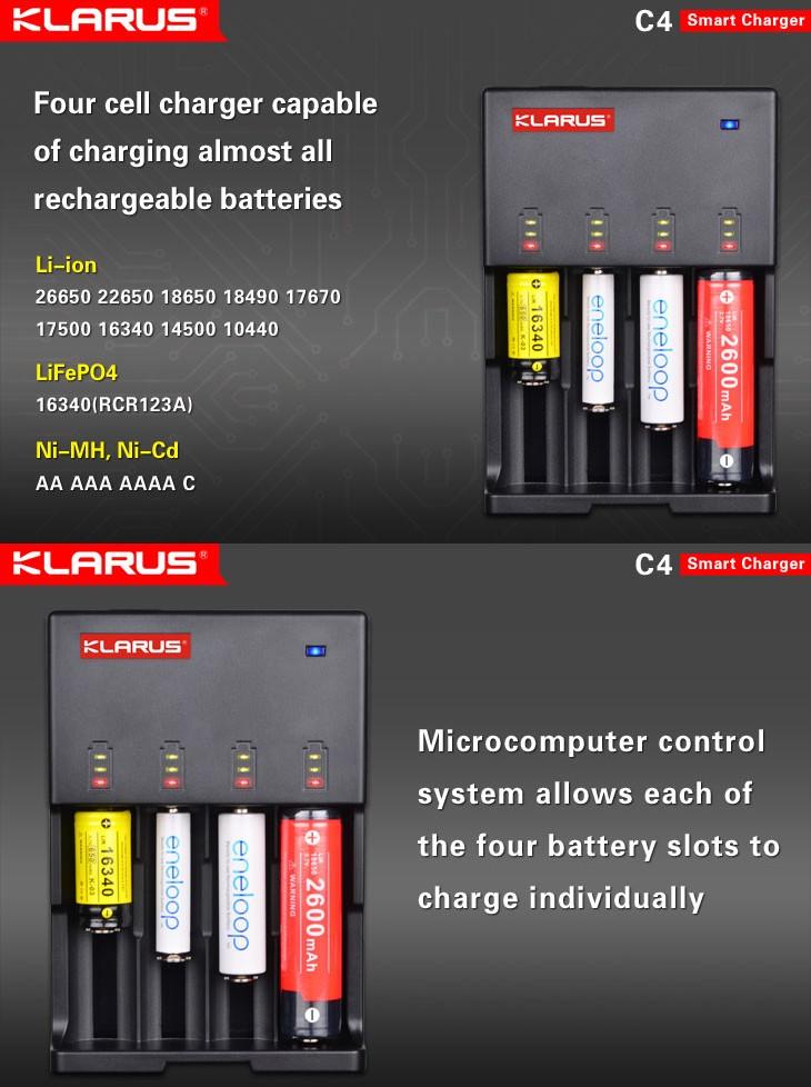 chargeur klarus c4 pour batteries li ion lifepo4 ecologeek4u. Black Bedroom Furniture Sets. Home Design Ideas