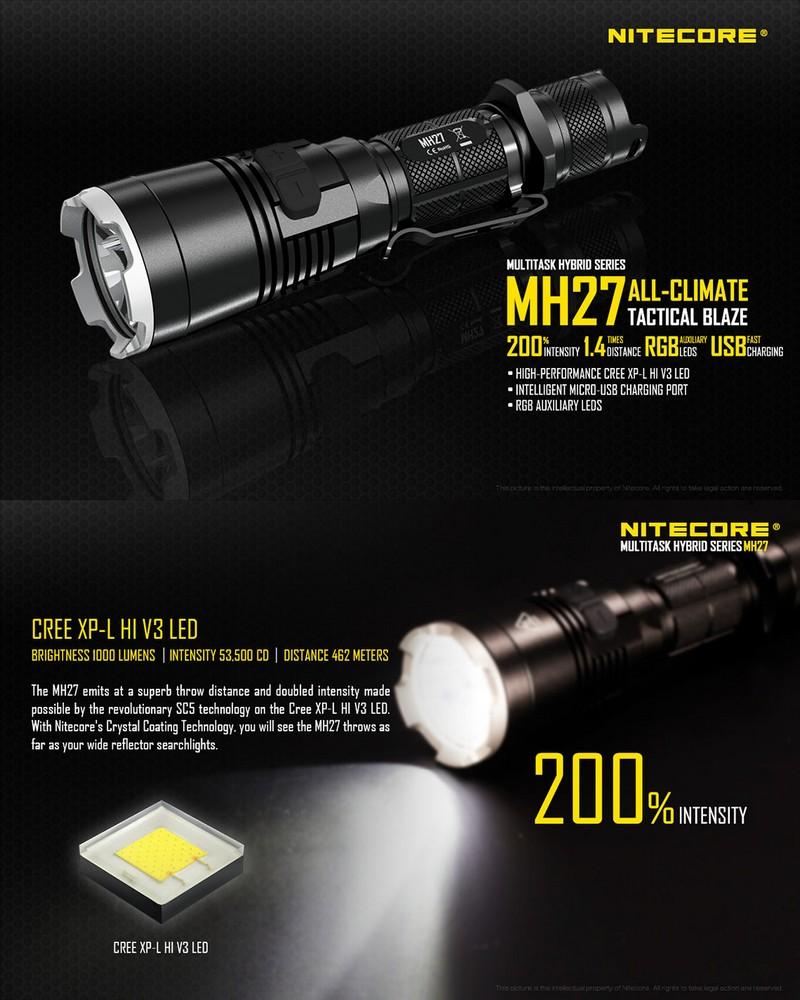 lampe torche nitecore mh27 rechargeable 1000lumens 4 couleurs. Black Bedroom Furniture Sets. Home Design Ideas