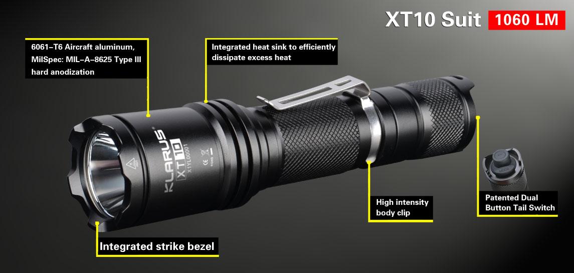 lampe tactique klarus xt10 suit 1060lumens lampe torche pour la chasse l 39 arm e la police la. Black Bedroom Furniture Sets. Home Design Ideas