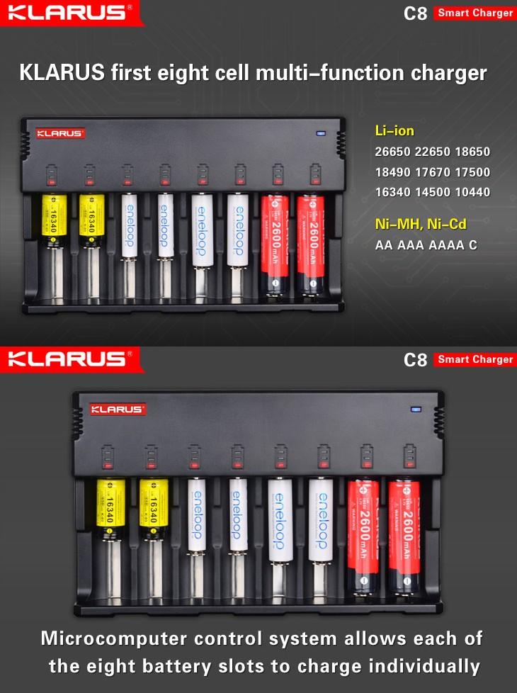 Chargeur Klarus C8 Pour Charger 8 Batteries Li Ion Sortie Usb Ecologeek4u
