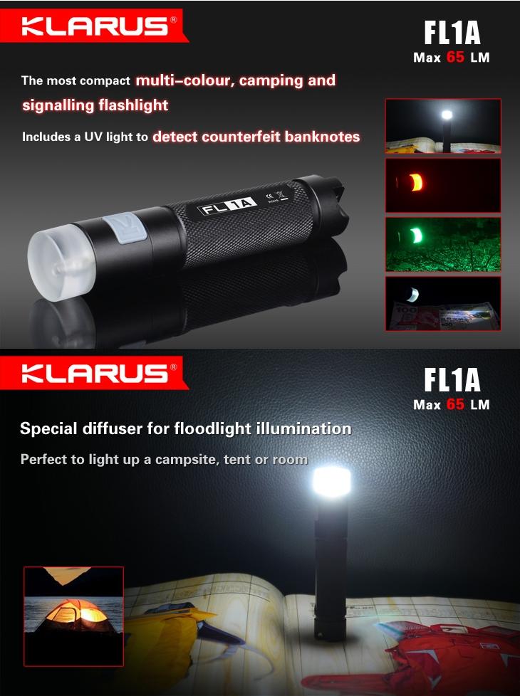 Lampe torche klarus fl1a 65lumens mini lampe de poche avec lumi re uv - Lampe torche uv ...