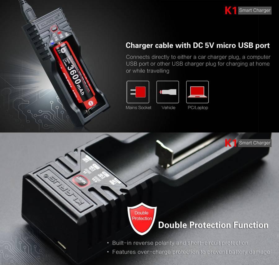 Chargeur Klarus K1 Usb Intelligent Pour Batteries 26650