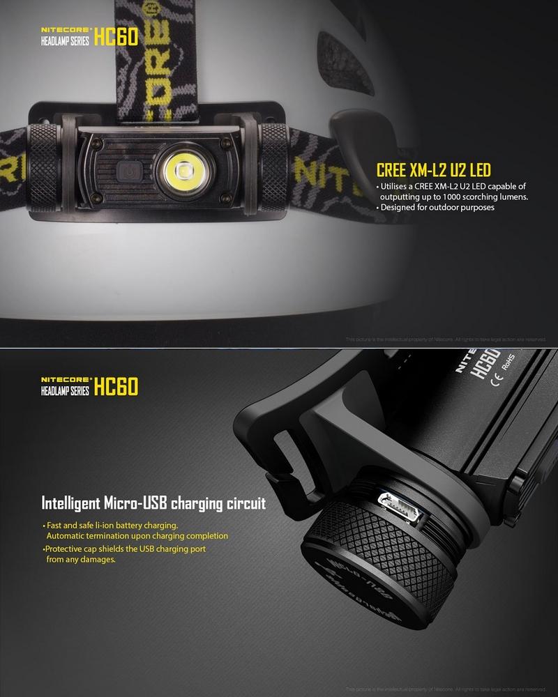 lampe frontale rechargeable nitecore hc60 1000lumens. Black Bedroom Furniture Sets. Home Design Ideas