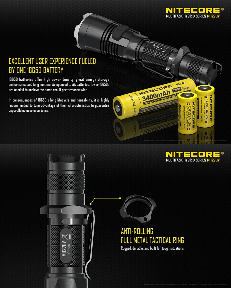 Lampe torche nitecore mh27uv rechargeable 1000lumens tactique rouge vert uv - Lampe torche rechargeable ...