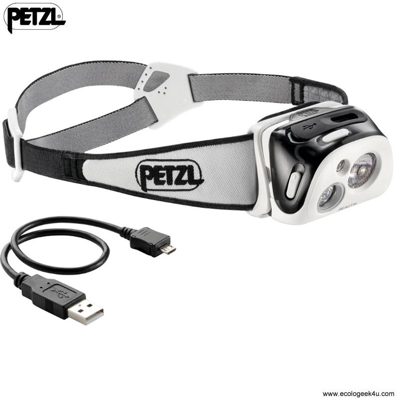 petzl reactik 190lumens le frontale rechargeable reactive lighting pour le sport vtt ski