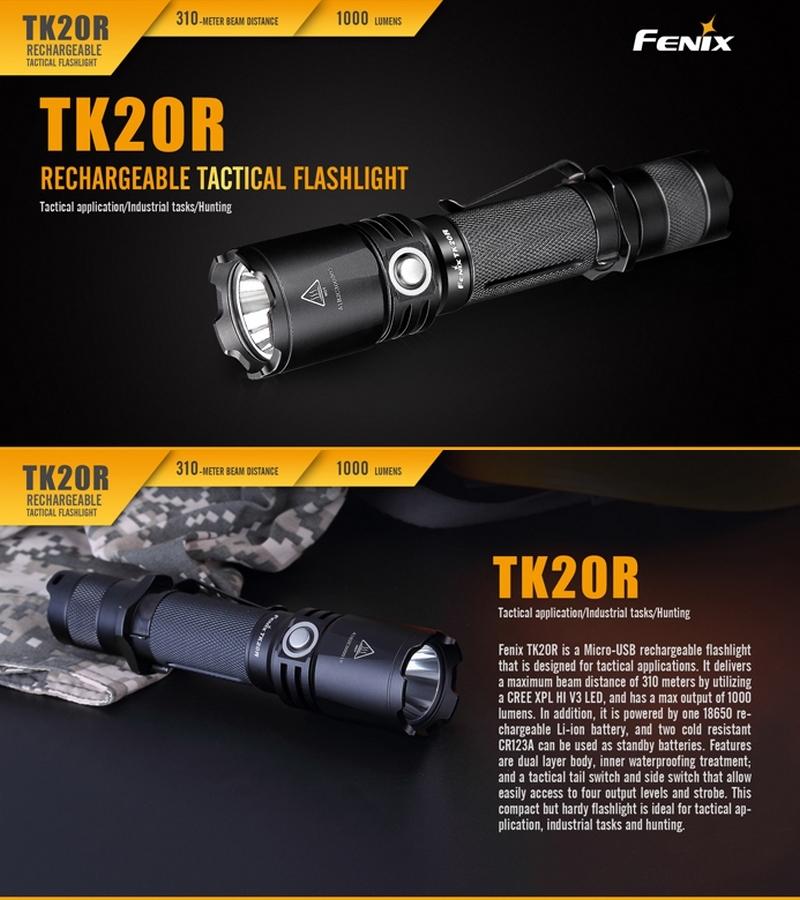 lampe torche fenix tk20r 1000lumens lampe tactique rechargeable pour agent de s curit police. Black Bedroom Furniture Sets. Home Design Ideas