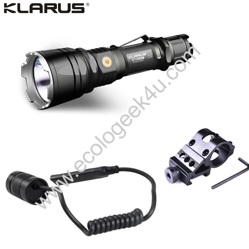 klarus xt12gt lampe torche tactique 1600lumens rechargeable longue port e pour l 39 arm e police. Black Bedroom Furniture Sets. Home Design Ideas