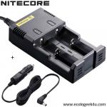 Chargeur Intellicharger i2 Nitecore + câble allume cigare
