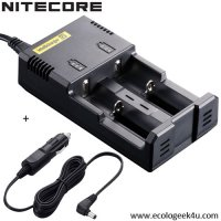 Chargeur Intellicharger i2 Nitecore + c�ble allume cigare