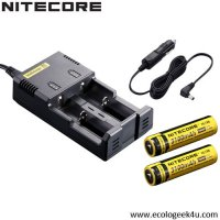Chargeur Intellicharger i2 Nitecore + c�ble allume cigare + 2 batteries 18650 3100mAh