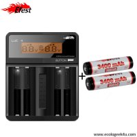 Chargeur Efest Luc V4  affichage LCD multifonctions + 2 batteries 18650 3400mAh