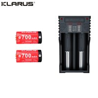 Chargeur Klarus K2 USB, 2 baies Powerbank Li-ion + 2 batteries