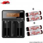 Chargeur Efest Luc V4  affichage LCD multifonctions + 4 batteries 18650 3400mAh