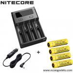 Chargeur Nitecore NEW i4 Nitecore + 2 ou 4 batteries 18650 3400 Nitecore + câble allume cigare
