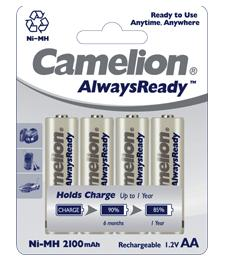 Pack de 4 piles rechargeables Camelion LR06 (AA) 2300mAh Ready to Use