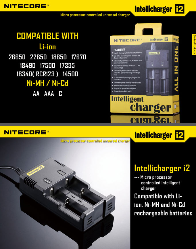 Chargeur Nitecore New I2 Avec 2 Batteries Nl1834 3400