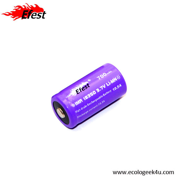 Batterie purple EFEST IMR 18350 - 700mAh  10.5A