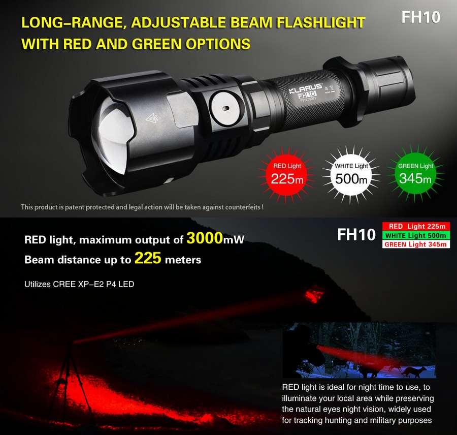 Lampe Torche Klarus Fh10 Chasse Avec Zoom Focus Integre Lumiere