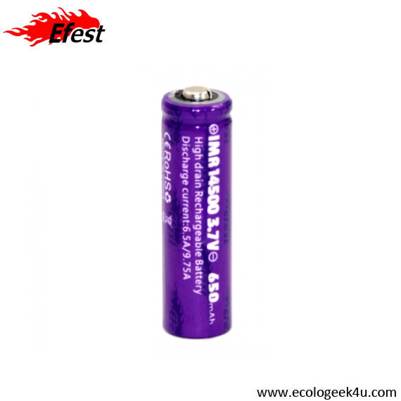 Batterie purple EFEST IMR 14500 - 650mAh  9.75A