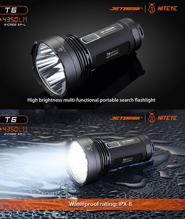 lampe torche niteye t6 de jetbeam 4350lumens phare projecteur longue port e ultra puissant. Black Bedroom Furniture Sets. Home Design Ideas