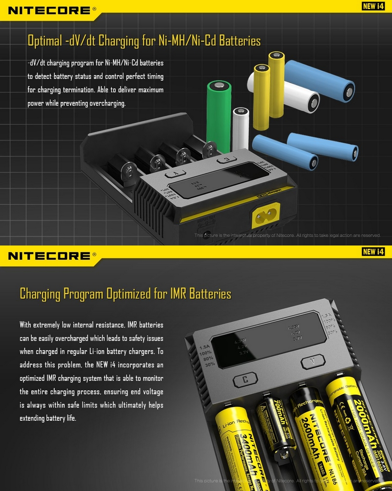 chargeur nitecore new i4 universel intelligent pour batteries li ion imr lifepo4 ni mh nicd. Black Bedroom Furniture Sets. Home Design Ideas