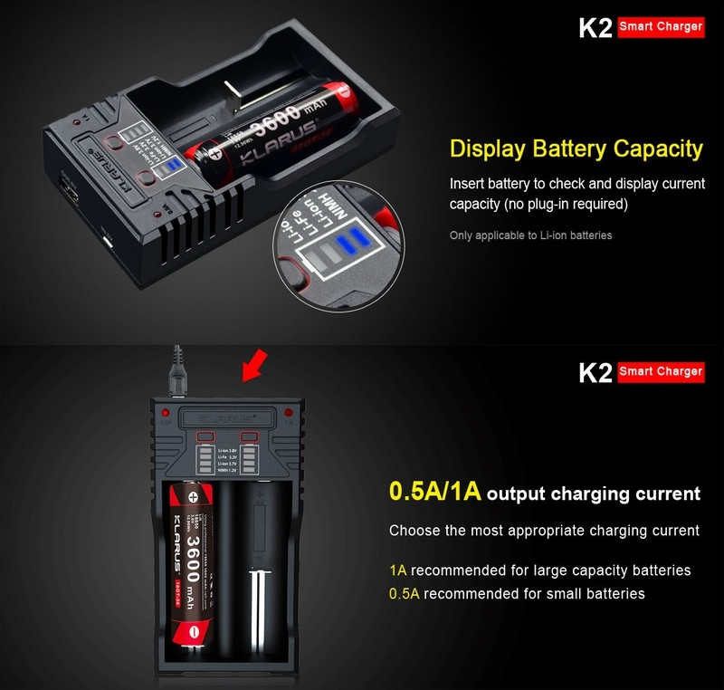 Chargeur Powerbank Klarus K2 USB 2 baies, intelligent pour