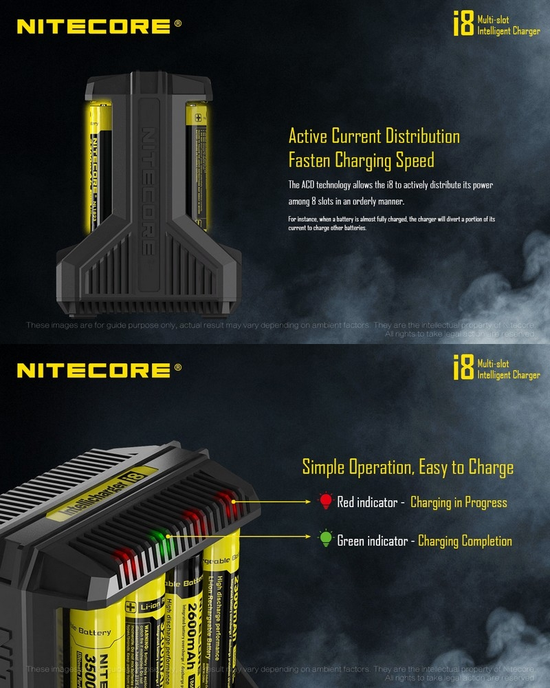 Chargeur Nitecore I8 Universel Recharge 8 Batteries