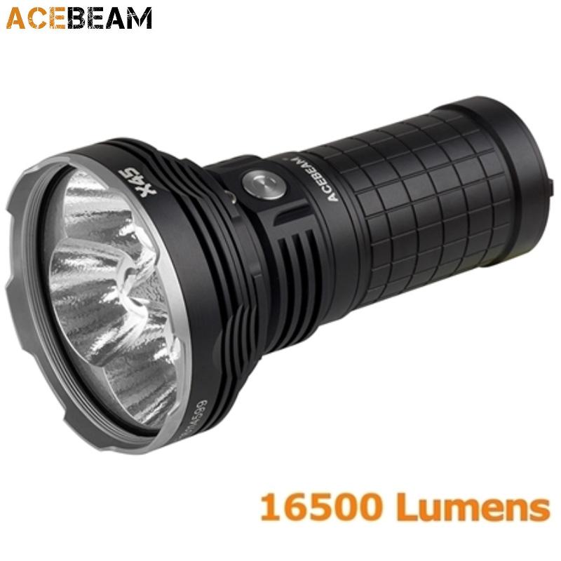 lampe torche acebeam x45 18000lumens phare projecteur de recherche longue port e ultra puissant. Black Bedroom Furniture Sets. Home Design Ideas