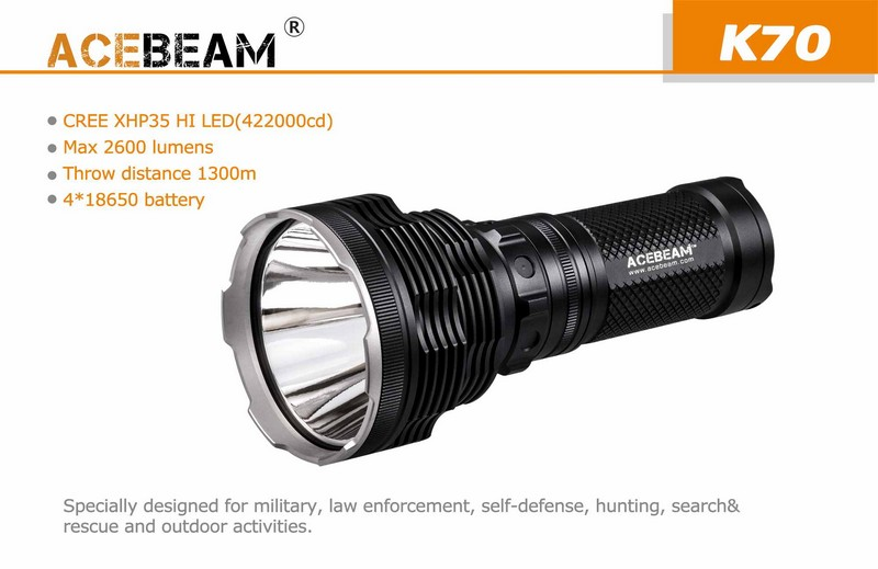 lampe torche acebeam k70 2600lumens phare projecteur tr s longue port e 1300 m tres ultra. Black Bedroom Furniture Sets. Home Design Ideas