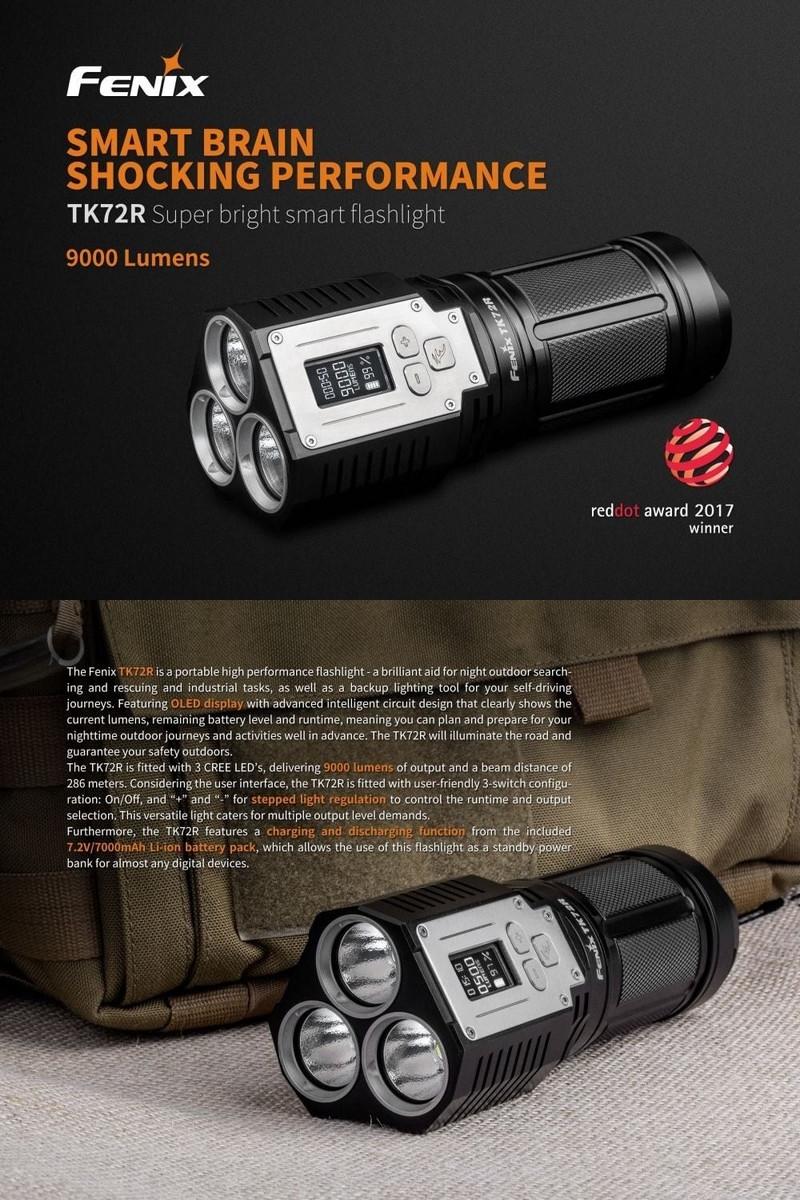 Fenix TK72R lampe de poche LED rechargeable de 9000 lumen