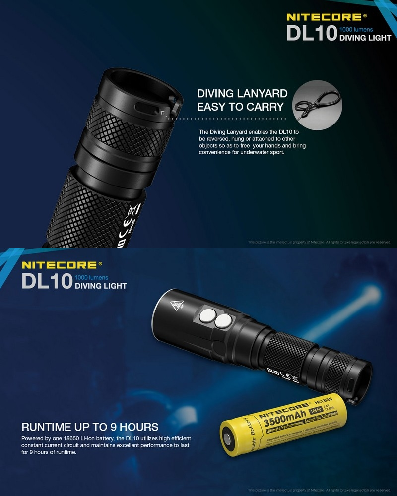lampe de plong e nitecore dl10 1000 lumens tanche jusqu 39 30 m tres. Black Bedroom Furniture Sets. Home Design Ideas