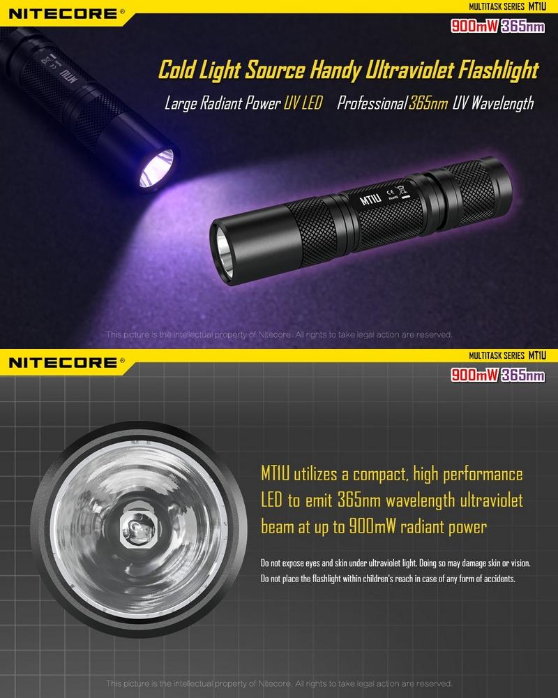 lampe de poche nitecore mt1u uv ultra violet longueur d. Black Bedroom Furniture Sets. Home Design Ideas