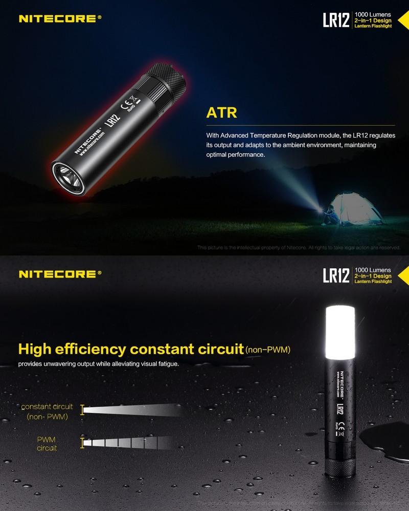 Nitecore lr12-Design Lampe 360 Degrés Lampe de poche 1000 lm 166 M Portée D/'éclairage