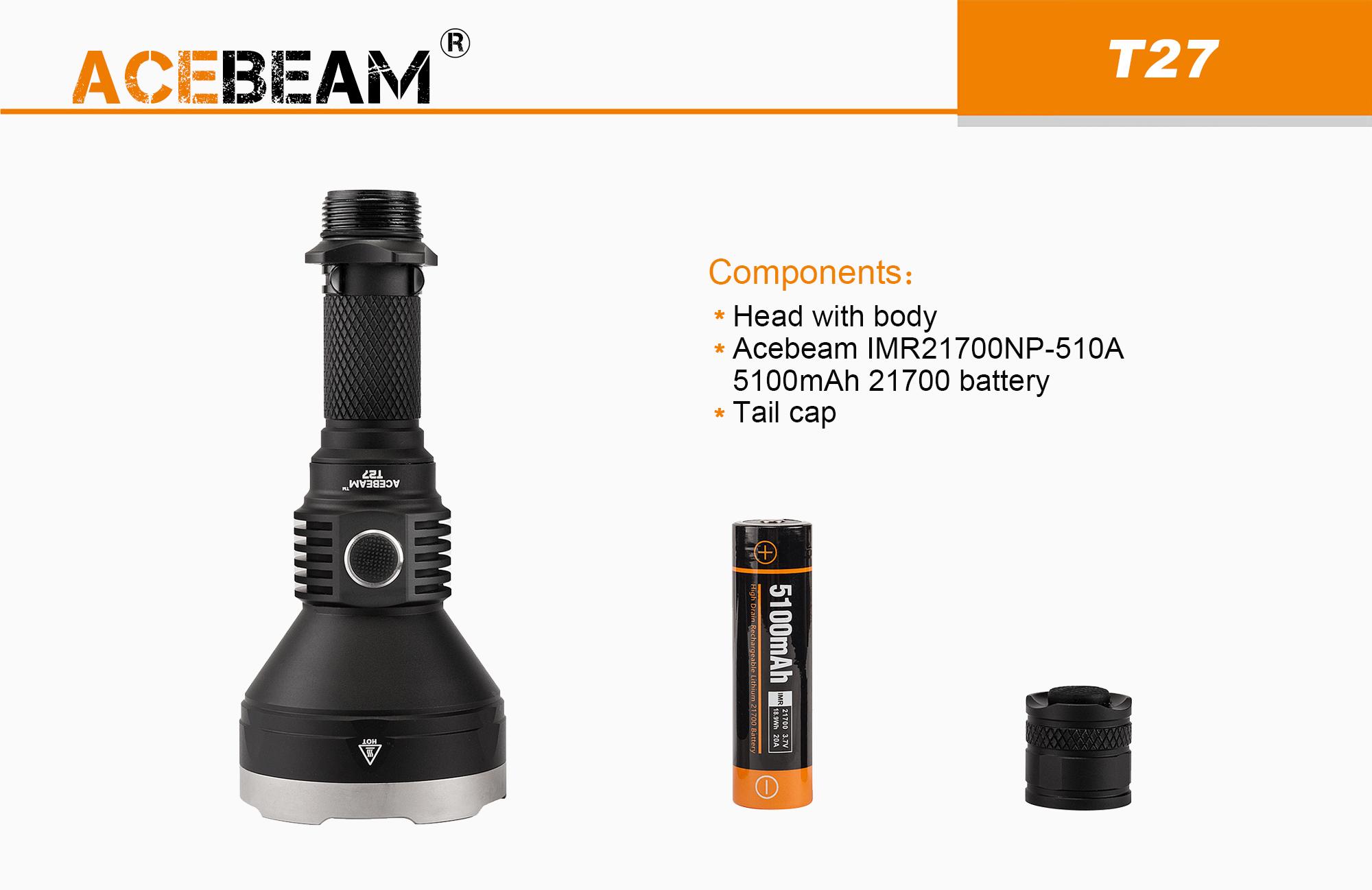 T27 C Usb Torche Lampe Acebeam 2500lumens Rechargeable b6gYyf7v