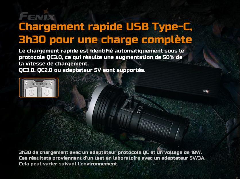 FENIX LR40R Lampe torche rechargeable Noir