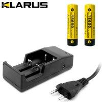 Chargeur Klarus + 2 Batteries Klarus 18650 2200mAh 3.7V protégées Li-ion