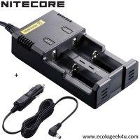 Chargeur Intellicharger i2 Nitecore + câble allume cigare