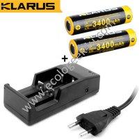 Chargeur Klarus + 2 Batteries Klarus 18650 3400mAh 3.7V protégées Li-ion