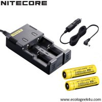 Chargeur Intellicharger NEW i2 Nitecore + 2 batteries 18650 3400mAh + câble allume cigare