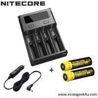 Chargeur Nitecore NEW i4 + 2 ou 4 batteries 2300mAh + câble allume cigare