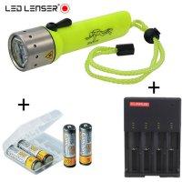 Lampe de plongée Led Lenser D14 + Chargeur + 4 accus 2700mAh Camelion