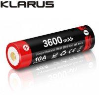 Batterie Klarus 18GT-36UR 18650 3600mAh protégée LiR pour lampe XT12GT, XT11X, XT2CR