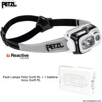 Pack Lampe Frontale Petzl SWIFT RL 900Lumens + 1 accu Swift RL