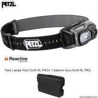 Pack lampe Frontale Petzl SWIFT RL PRO 900Lumens  + 1 accu Swift RL PRO