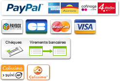 Paiement sécurisé Paybox ou Paypal / chèque / Virement bancaire - livraison assurée par colissimo