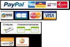 Paiement sécurisé Paybox ou Paypal / chèque / Virement bancaire - livraison assurée par colissimo